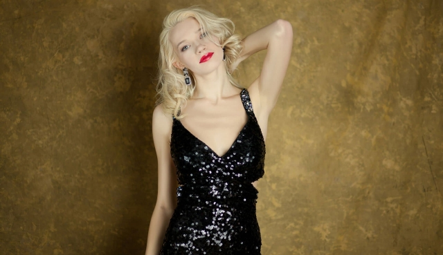 Black Sequin Dress on Blonde Woman at our Photo studio